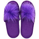 Тапочки женские фиолетовые меховые на мягкой подошве для дома стильные утепленные р.37-40, фото 3
