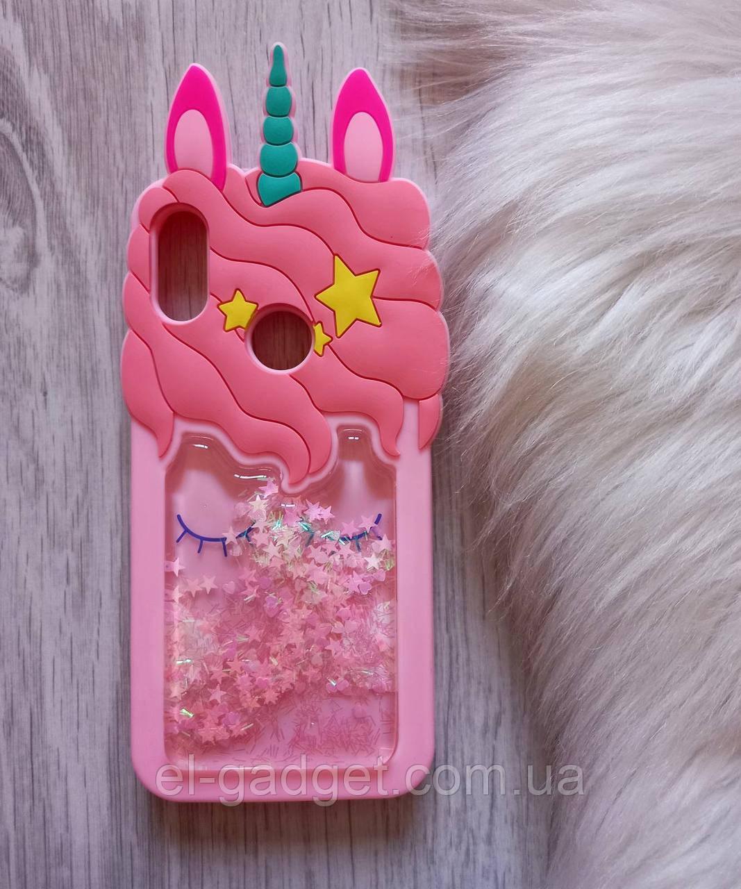 Чехол для Xiaomi Redmi 7 Единорог розовый с блестками
