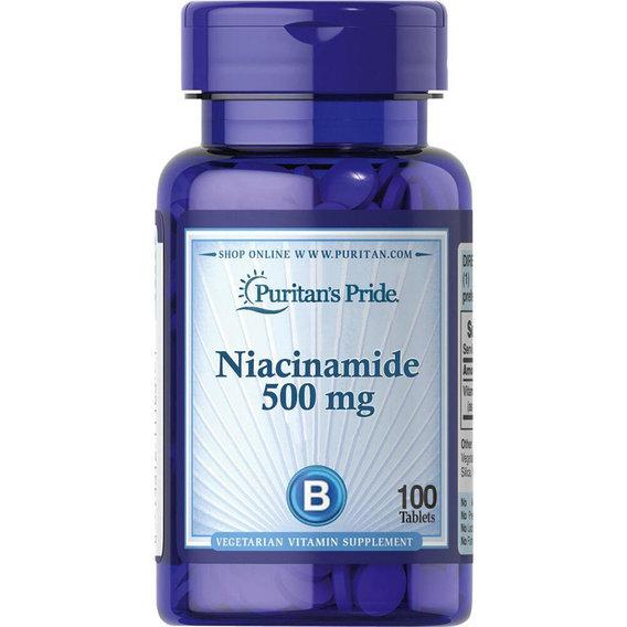 Puritan's Pride Niacinamide 500 mg, Ниацинамид (100 таб.)
