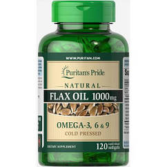 Puritan's Pride Natural Flax Oil 1000 mg, Льняное масло (120 капс.)
