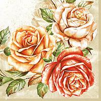 """Салфетки для декупажа """"Розы большие"""" 25*25 см №2"""