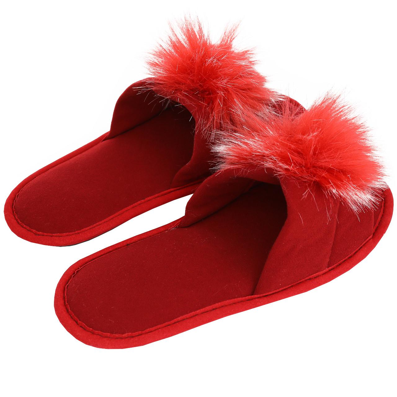 Тапочки женские меховые красные на мягкой подошве для дома стильные утепленные р.37-40