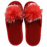 Тапочки женские меховые красные на мягкой подошве для дома стильные утепленные р.37-40, фото 4