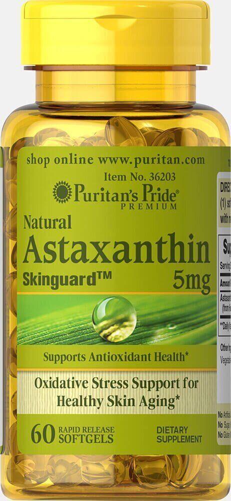 Puritan's Pride Natural Astaxanthin 5 mg, Астаксантин (60 капс.)