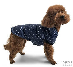 Жилет фліс 42 см (об'єм до 58см) сині сердечка розм 8 для собак