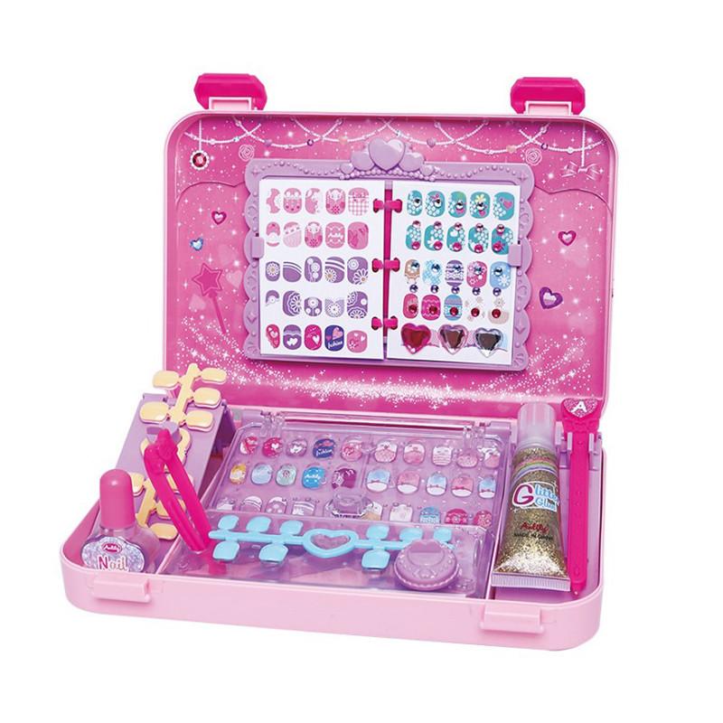"""Игровой набор для девочек в чемодане Lesko """"Студия маникюра"""" 55002 Pink детская косметика"""