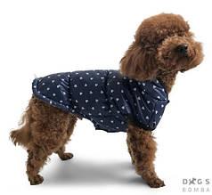 Жилет фліс 39 см (об'єм до 65см) сині сердечка розм 7 для собак