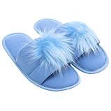 Тапочки женские меховые голубые на мягкой подошве для дома стильные утепленные р.37-40, фото 4