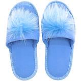 Тапочки женские меховые голубые на мягкой подошве для дома стильные утепленные р.37-40, фото 3