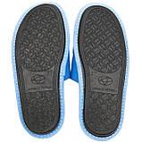 Тапочки женские меховые голубые на мягкой подошве для дома стильные утепленные р.37-40, фото 5