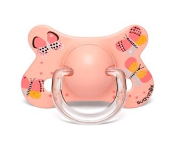 """Пустушка анатомічна, 4-18 місяців, """"Крилаті історії""""/рожеві метелики"""