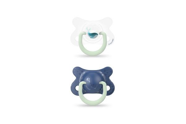 Пустушка фізіологічна (набір: 2 шт), +18 місяців, нічна/синій кит