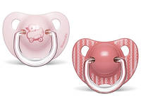 """Пустушки анатомічні (набір: 2 шт), 6-18 місяців, """"Історії малюків""""/рожеве каченя, фото 1"""