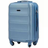 Пластиковый дорожный чемодан wings 203 silver blue размер S (ручная кладь), фото 1