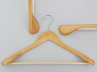 Плічка вішалки дерев'яні світлі широкі з антискользяшей поперечиною, довжина 45 см