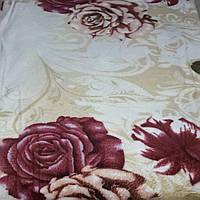 Плед покрывало бамбуковое волокно ЛИША 180 х 200 (2937) Розы с листьями на бежевом