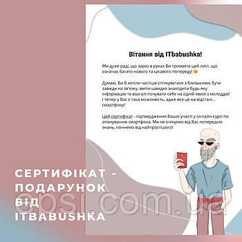 Сертификат на курсы пользования смартфоном от ITbabushka