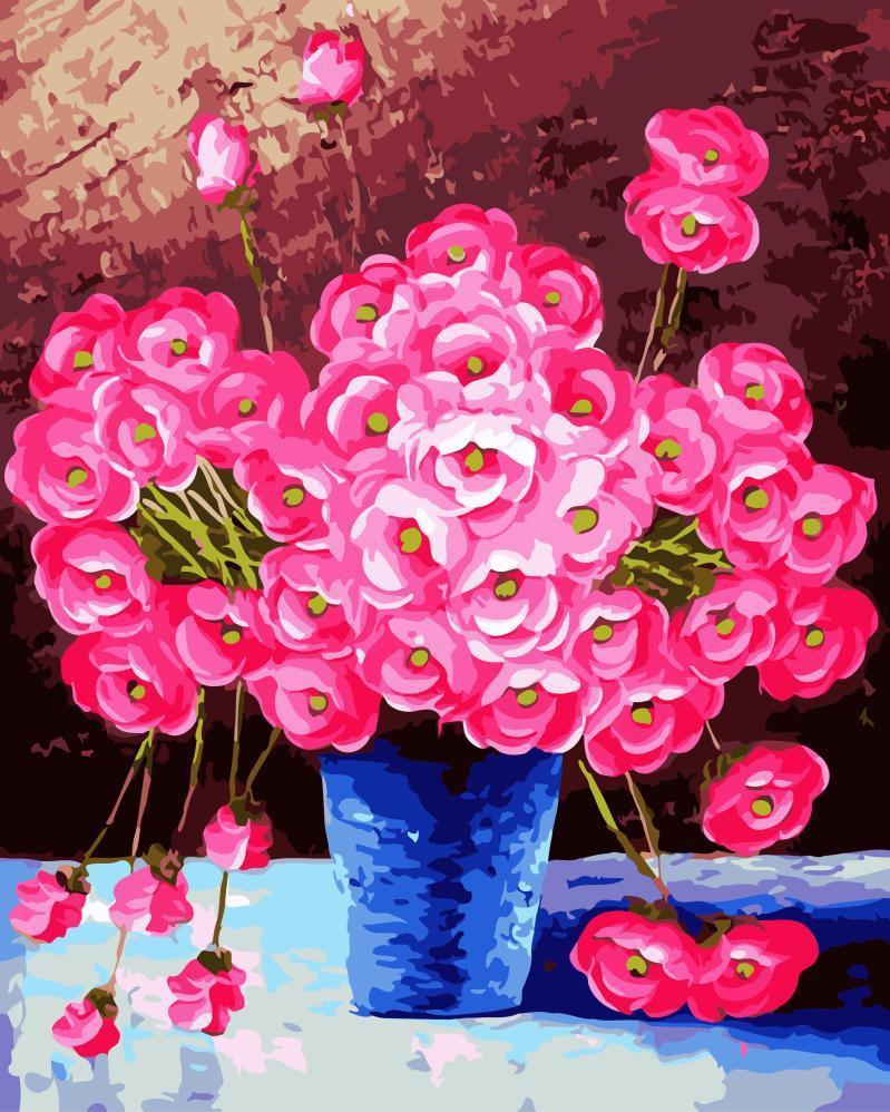 Картина рисование по номерам Brushme Розовые цветы в синей вазе 40х50см рисование роспись по номерам, кисти,