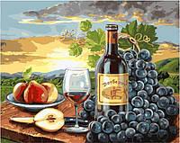 Картина рисование по номерам Brushme Закат с вином и фруктами 40х50см рисование роспись по номерам, кисти,