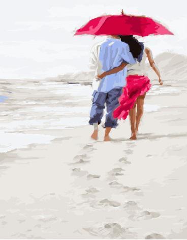 Картина рисование по номерам Brushme Романтика на пляже     BK-GX23590 набор для росписи, краски, кисти, холст