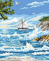 Картина рисование по номерам Brushme Прибой у острова GX24116 40х50см       40x50см  BK-GX24116 40x50см набор