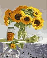 Картина рисование по номерам Brushme Букет подсолнухов 40х50см рисование роспись по номерам, кисти, краски,