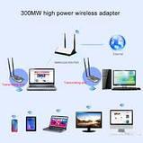 Kebidu, 300 Мбит/с, USB Wi-Fi адаптер,  сетевая карта RTL8192FU, высокая мощность, 3000 МВт, двойная антенна., фото 2