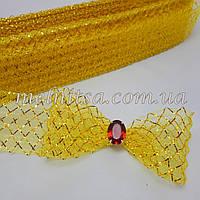 Регилин, 4,5 см,  желтый с золотой сеткой, гофро