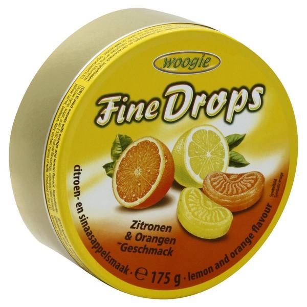 Леденцы Woogie Fine Drops со вкусом лимона и апельсина ж/б, 200г (Австрия)