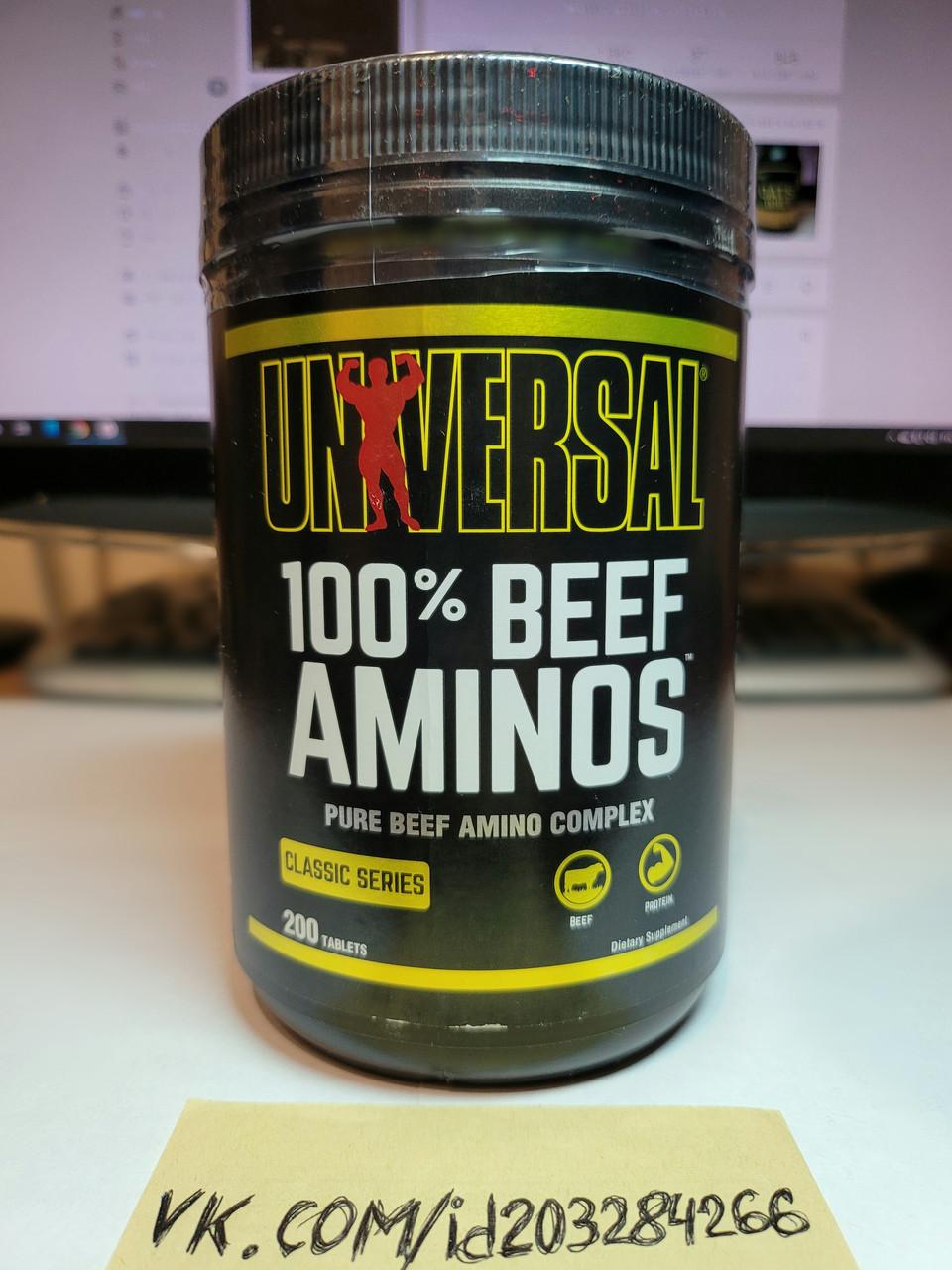 Комплекс аминокислот Universal Nutrition 100% Beef Aminos 200 tabl