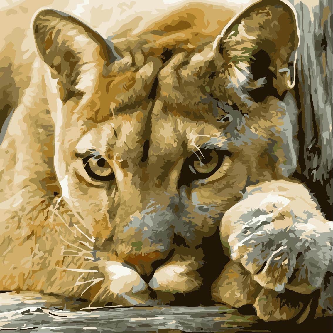 Картина рисование по номерам Идейка Хищница 40х40см КНО2485 набор для росписи, краски, кисти, холст
