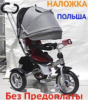 Дитячий триколісний велосипед екологічний (Crosser T-503 AIR) Сірий, велосипед-коляска, колеса надувні НОВИЙ