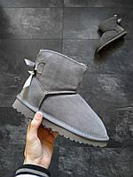 Женские угги UGG Mini bailey bow II boot зимние Серые, фото 1