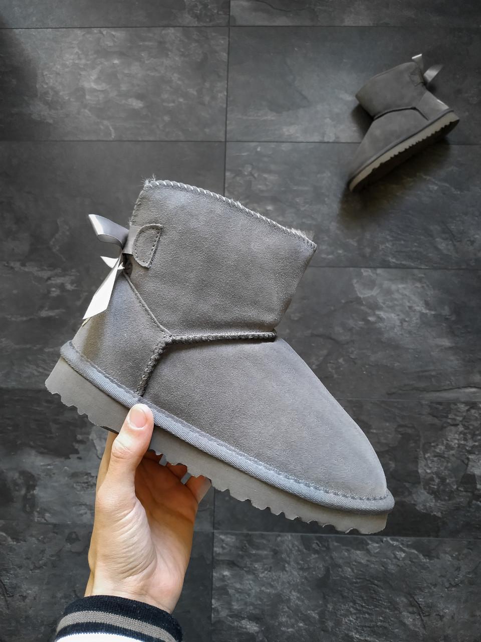 Женские угги UGG Mini bailey bow II boot зимние Серые