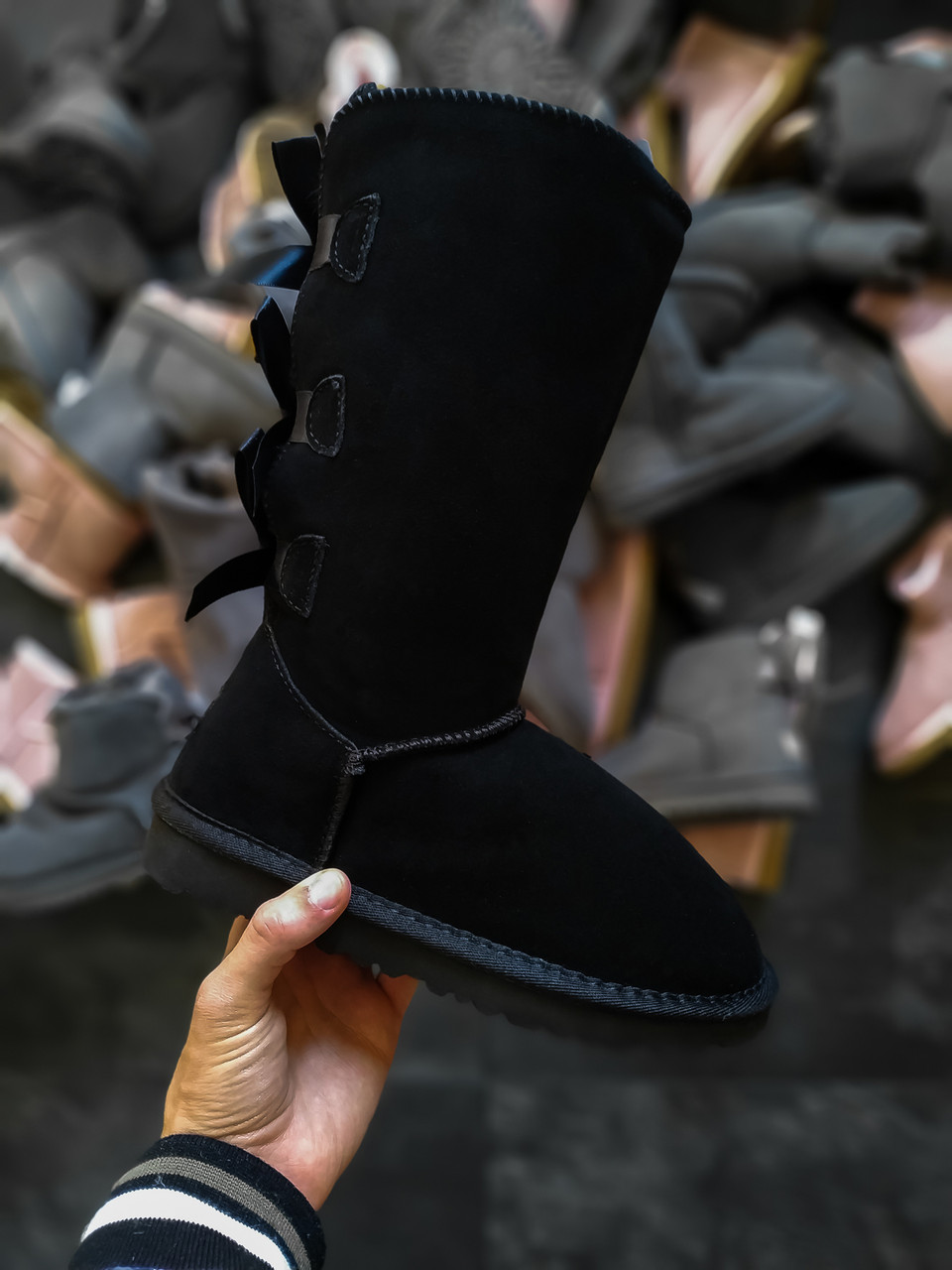Женские угги UGG Bailey bow (смехом) черные