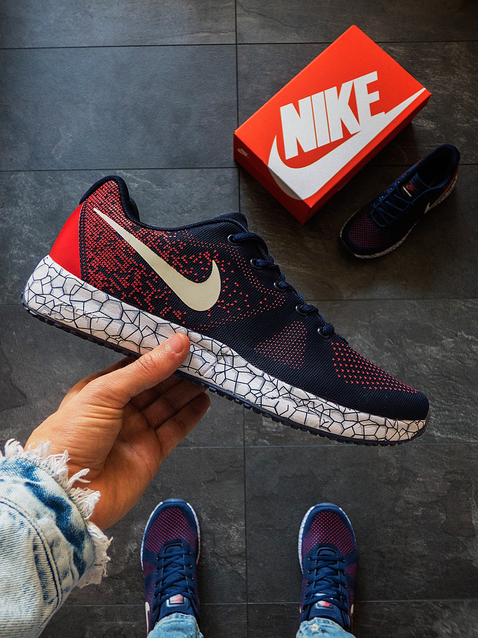 Мужские летние кроссовки Nike Сине-красные 44 размер