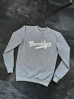 Кофта мужская с принтом Brooklyn весна/осень Серая, фото 1