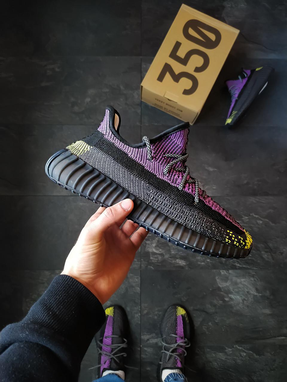 Мужские кроссовки Adidas Yeezy Boost 350 черно-фиолетовые