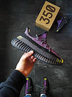 Мужские кроссовки Adidas Yeezy Boost 350 черно-фиолетовые, фото 1