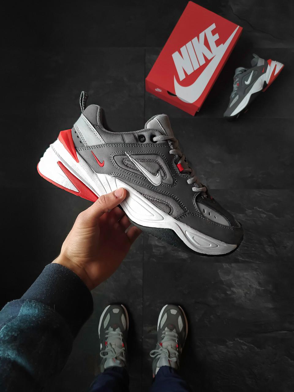 Кроссовки Nike M2K Tekno мужские Серые с красный