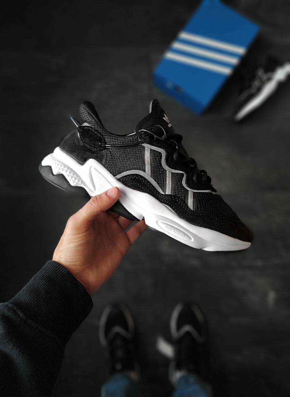 Мужские кроссовки Adidas Ozweego черно-белые рефлективные 42 размер