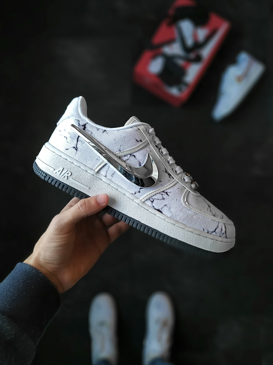 Мужские кроссовки Travis Scott x Nike Air Force белые