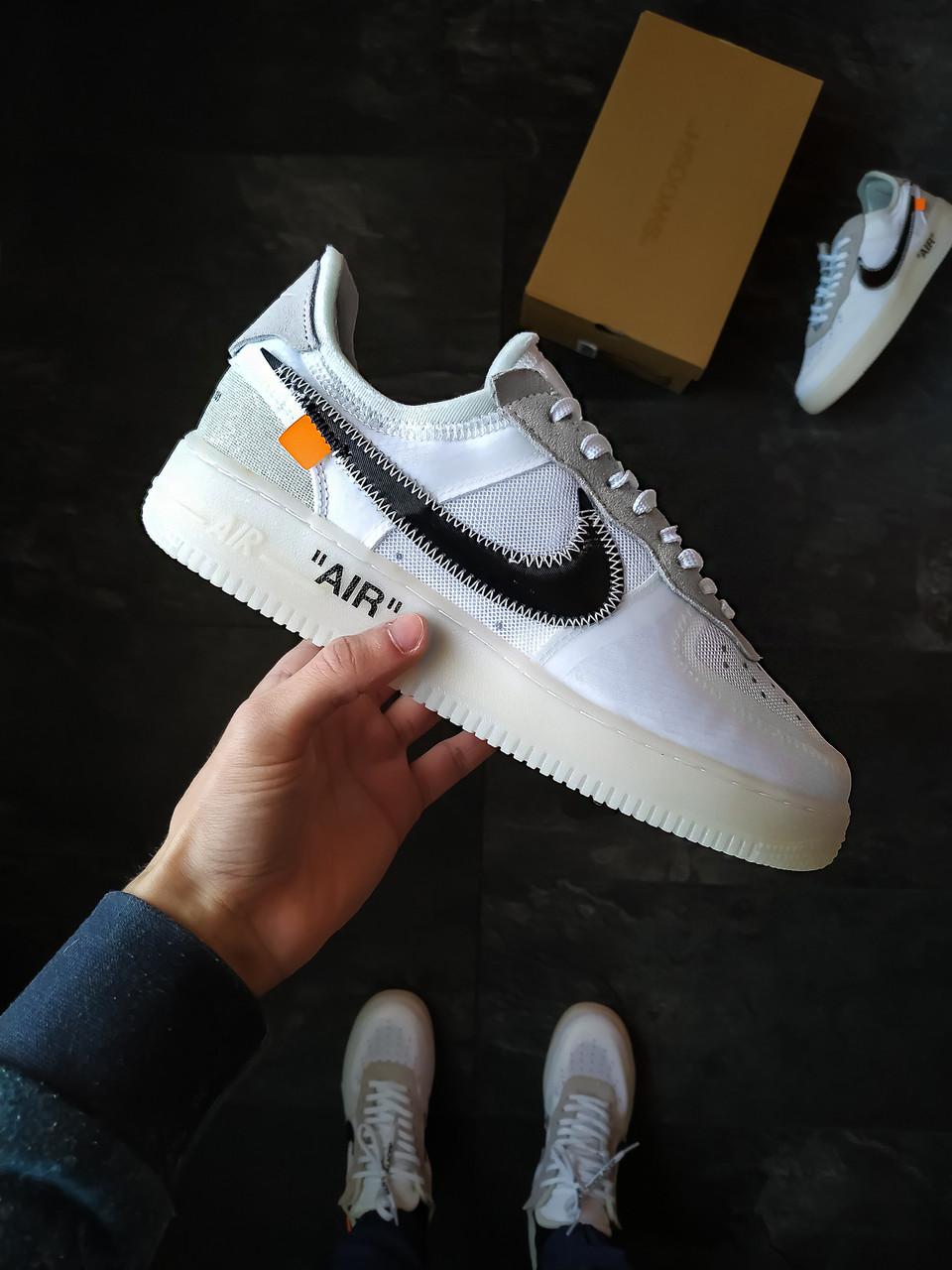 Мужские кроссовки Nike Air Force Just Do It x Off White белые