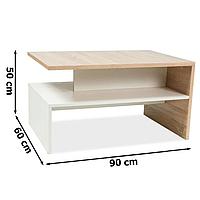 Прямоугольный кофейный столик Signal Frida 90x60х50см из дсп дуб сонома+белый с полочкой для гостиной модерн