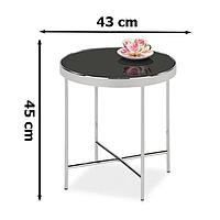 Круглый кофейный столик Signal Gina C 43x45см черного цвета с хром каркасом для спальни модерн