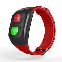 Фитнес браслет для пожилых людей Smart Band C1 с GPS-трекером, кнопкой SOS и Тонометром Красный