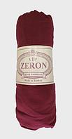 Простынь на резинке хлопок трикотажная на односпальную кровать Zeron 90х200 бордовая (14434)