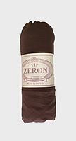 Натяжная простынь на резинке на односпальную кровать Zeron 90х200 см коричневая (14435)