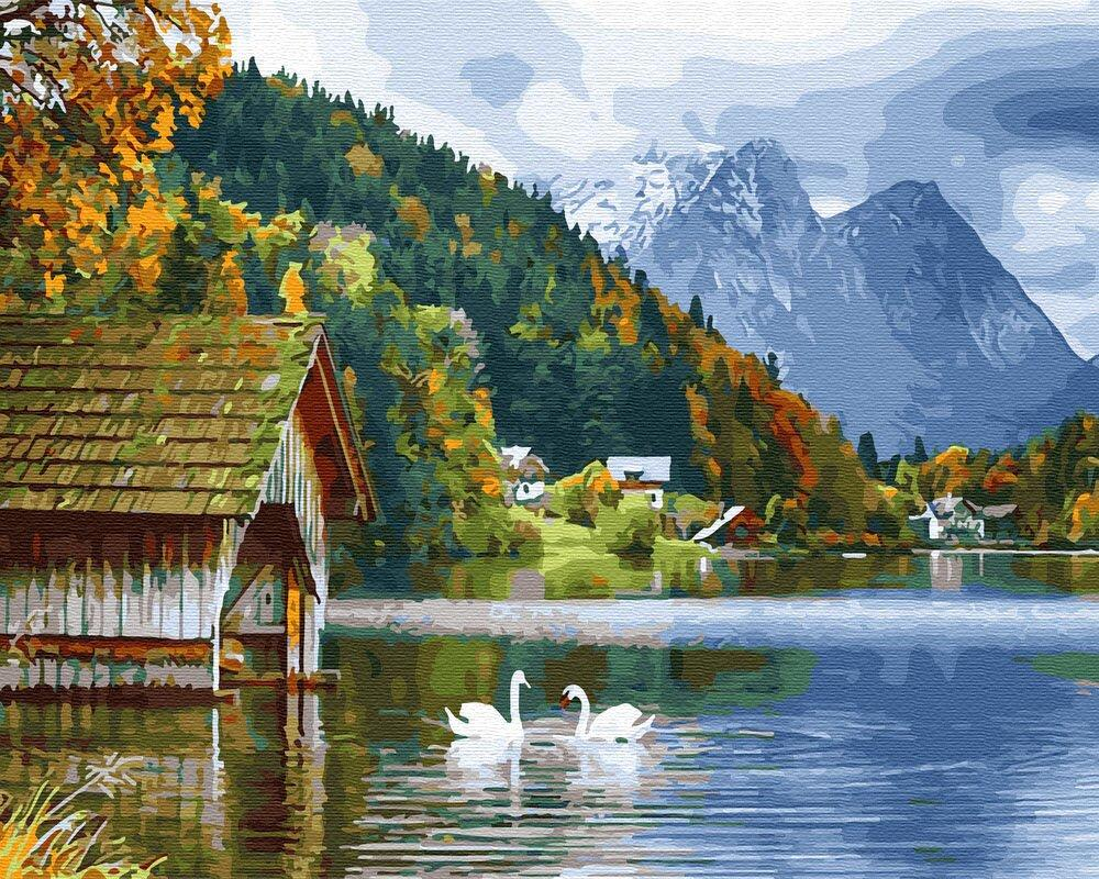 BK-GX27951 Набор для рисования по номерам Озеро с лебедями, Без коробки
