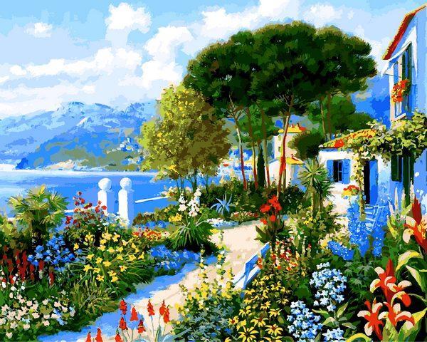 VP1292 Картина-раскраска по номерам Сад у дома